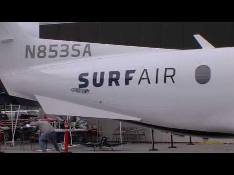 SurfAir Shows off their New Pilatus PC-12 N853SA at San Carlos