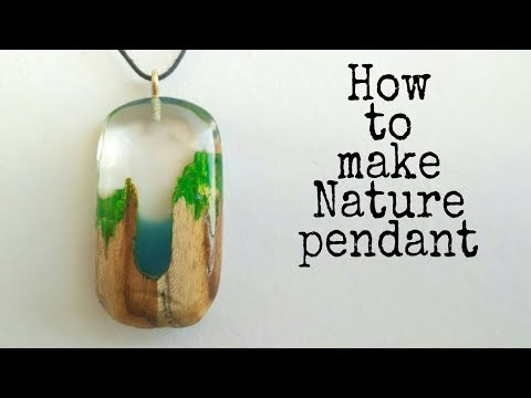 How to make Nature pendant necklace from epoxy resin and wood