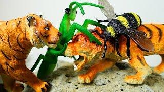 Приключения ЖИВОТНЫХ Животные против огромных НАСЕКОМЫХ Животные для детей Мультфильм ИГРУШКИ ТВ