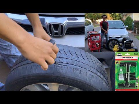 How To Fix Flat Car Tire Plug Puncture Repair Hole Caused By Nails In Minutes Using Patch Repair Kit