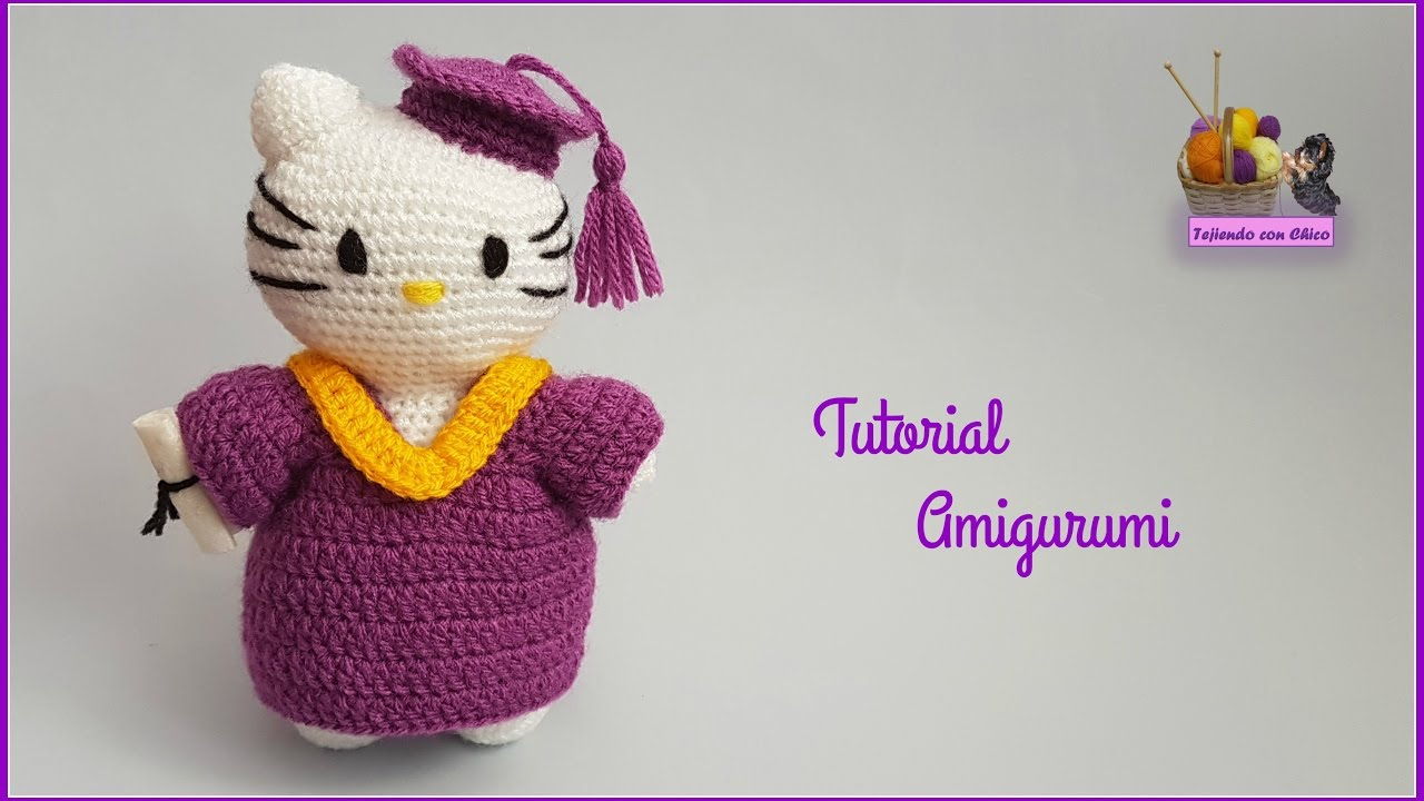 Tutorial amigurumi Hello Kitty graduación - YouTube