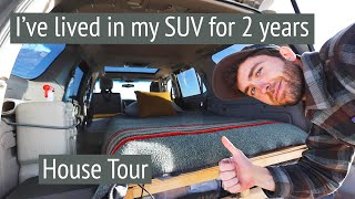 Living in my SЏV for two years // Tiny home camper tour // Toyota Sequoia 4x4 Overland