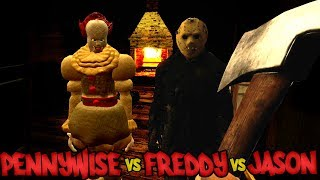 PENNYWISE vs FREDDY vs JASON -- IT, Friday the 13th, Nightmare on Elm Street SCARY HORROR Deathmatch