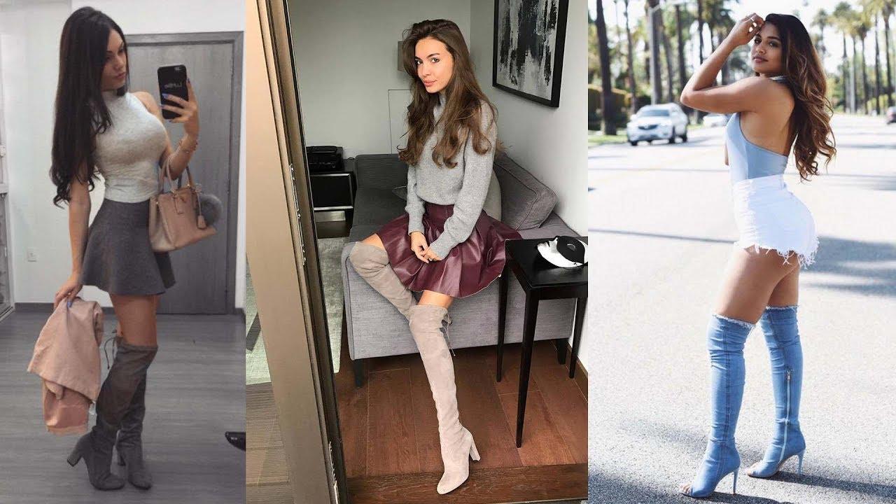 high boots short dress