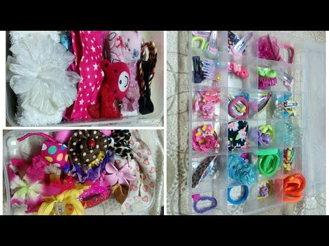 Girls hair accessories organization ideas/how to organize kids clips & rubberbands