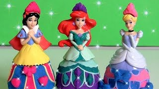 Play Doh Sparkle Glitter Snow White, Ariel, Cinderella Mix 'n Match Glitter Fashion Design-a-Dress