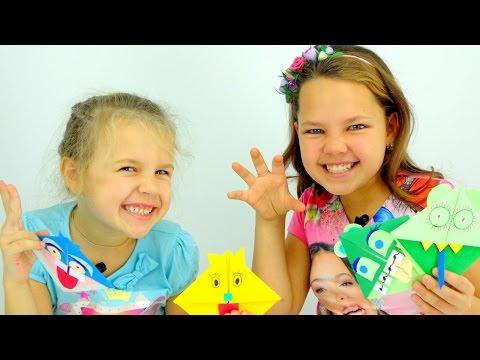 Видео для детей. Ксюша, Настя - Мастер Класс по ОРИГАМИ. Как сделать закладку?