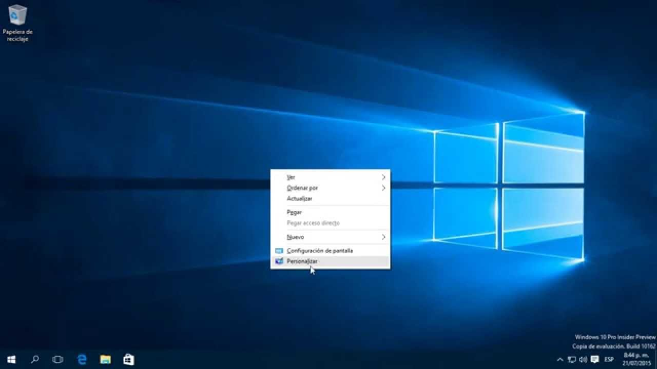Personalizar fondo de escritorio en windows 10 youtube for Que es el fondo de escritorio