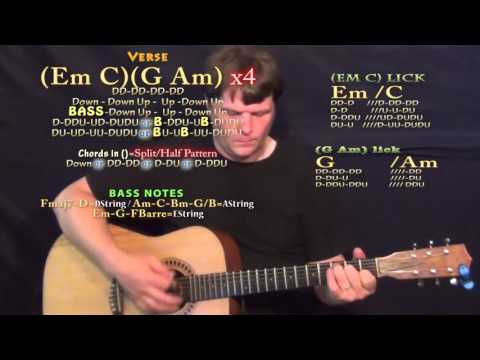 Just Like Fire (Pink) Guitar Lesson Chord Chart - Em C G Am