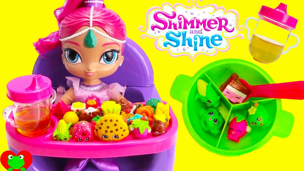 Best Toy Food Learning Video With Baby Shimmer S High Chair Shimmer