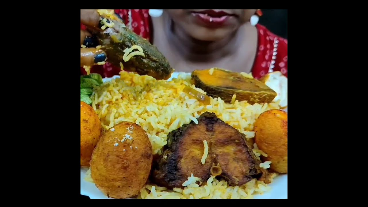 Fish Biryani with Fried Eggs and Fried Fish #Shorts by Foodie Dipa