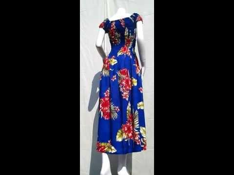 48817 Summer Smock Top Baby Doll Viscose Dress - Hawaiian Hibiscus Flower - Blue