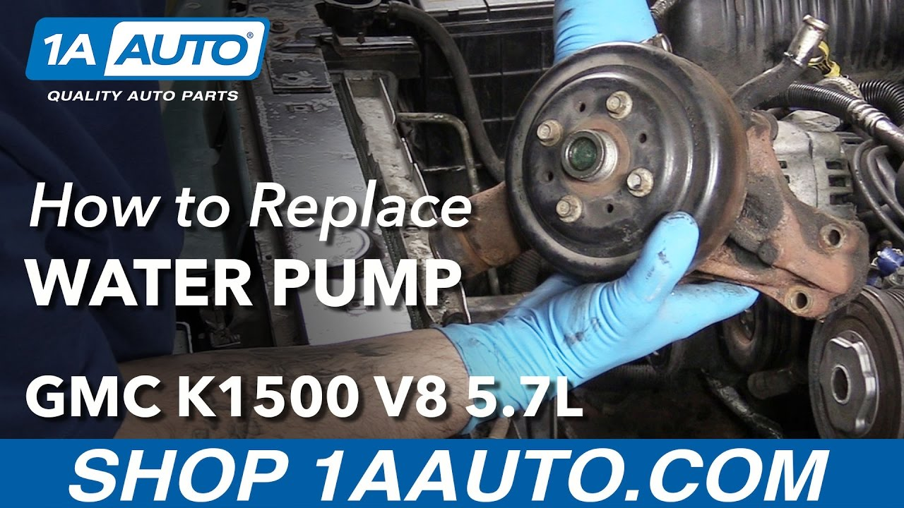 how to replace engine water pump 96 00 gmc k1500 v8 5 7l [ 1280 x 720 Pixel ]