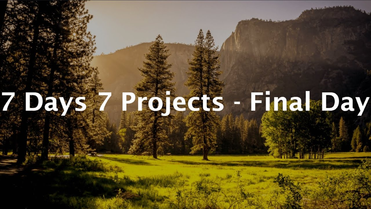 Putting it all Together - 7Days7Projects Challenge Complete!