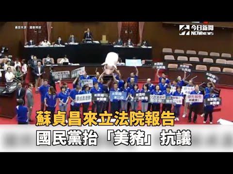 蘇貞昌來立法院報告 國民黨抬「美豬」抗議