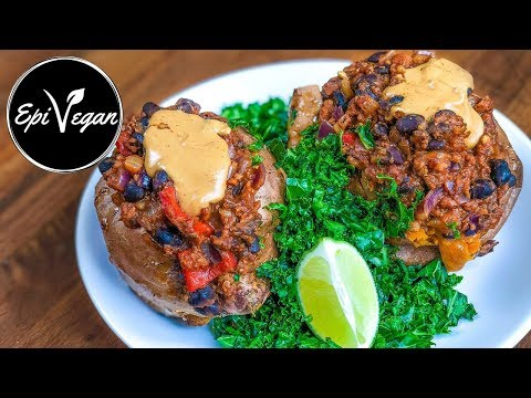 Healthy Vegan Dinner Chilli Loaded Sweet Potatoes
