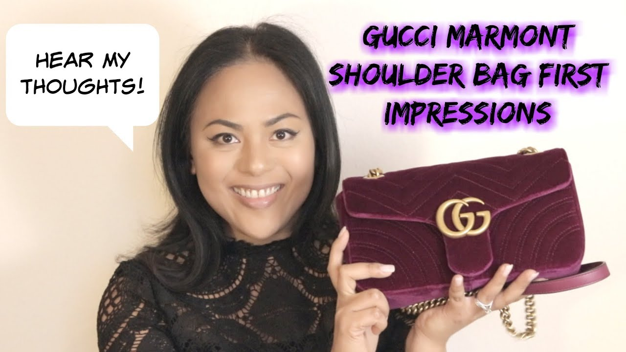 6324b1e63070 Gucci Small Marmont Shoulder Bag First Impressions - YouTube