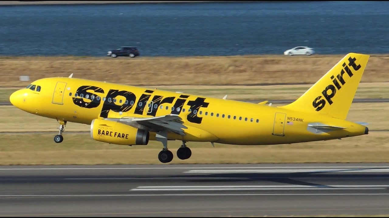 Spirit Airlines Airbus A319-132 [N534NK] takeoff from PDX