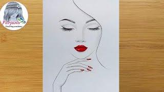 Easy way to draw a girl with red lips  Pencil Sketch  Girl Drawing   Güzel Kız Çizimi