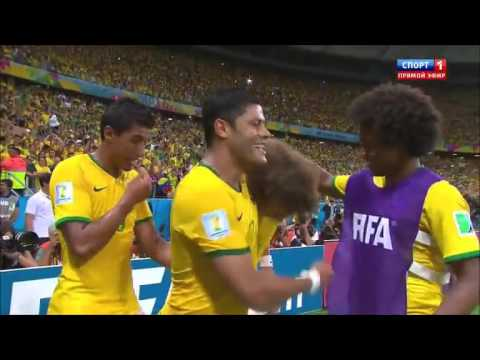 david luiz free kick goal in fifa world cup 2014 Brazil VS Colombia