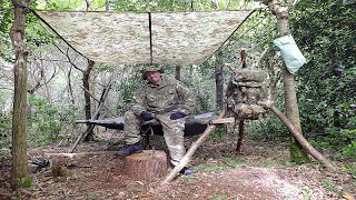 Repeat youtube video Survival Solo Forest 1, A-Frame Bed, Milbank Water, Wild Rabbit & Natural Flint Fire
