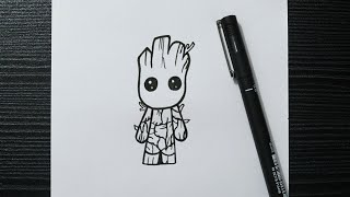 easy drawing doodle groot draw