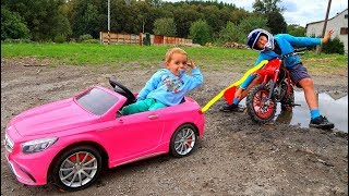 Funny Baby STUCK in the MUD Towing Ride on New Dirt Cross Bike and Power Wheel Pink Mercedes