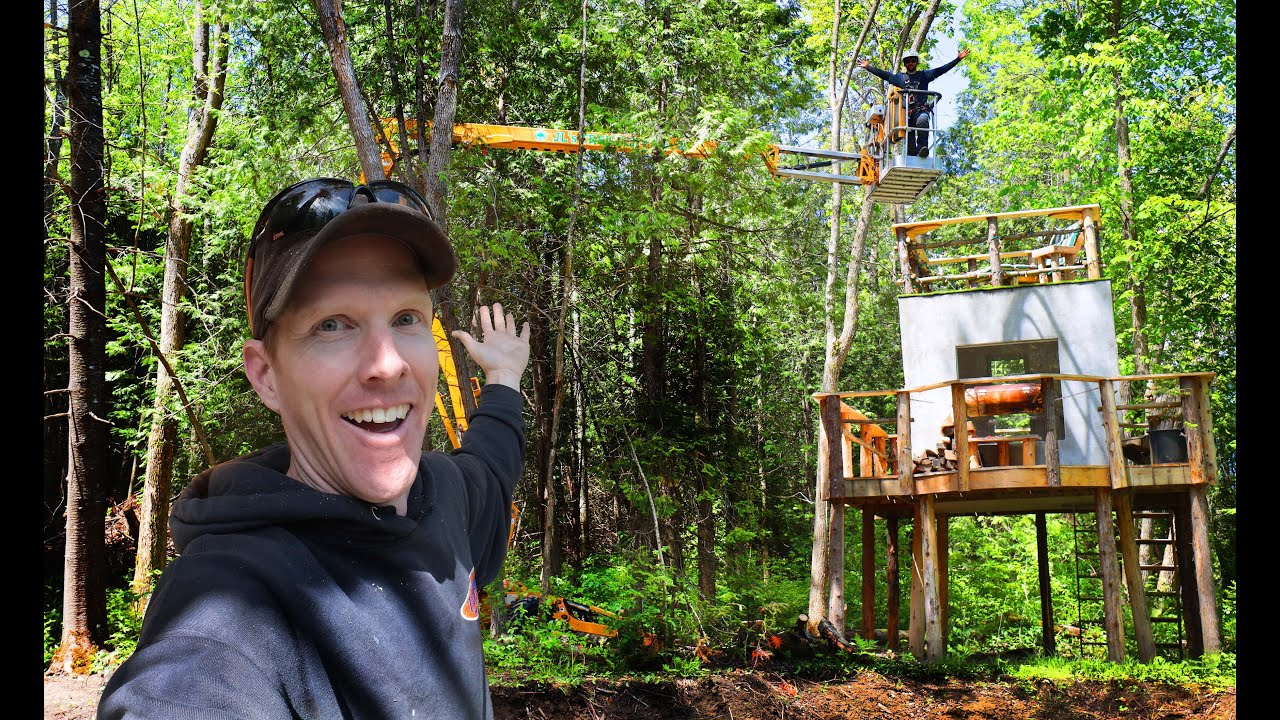 $100,000 Tree Bucket Lift Saves The Forest Cube! | Spring Snow, Building Deck for Log Cabin, Bonfire