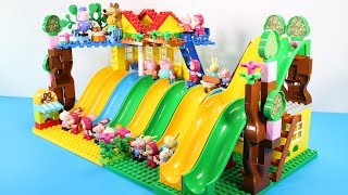 Peppa Pig Building Blocks House Toys For Kids - Lego Duplo House With Water Slide Creations Toys #4