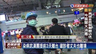 染病武漢團昨下午離境 機場情緒失控暴走-民視新聞