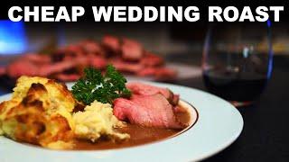 Slow-roast beef eye of round, with mushroom jus and baked mash