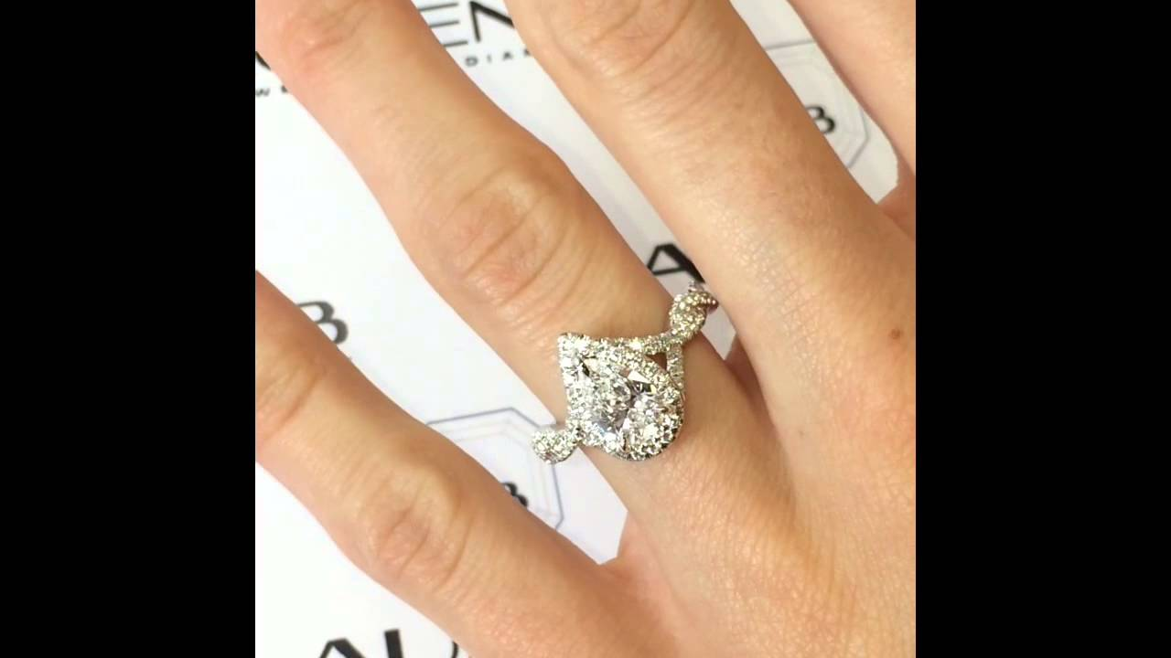 Pear Diamond Halo Ring In Twisted Band Youtube