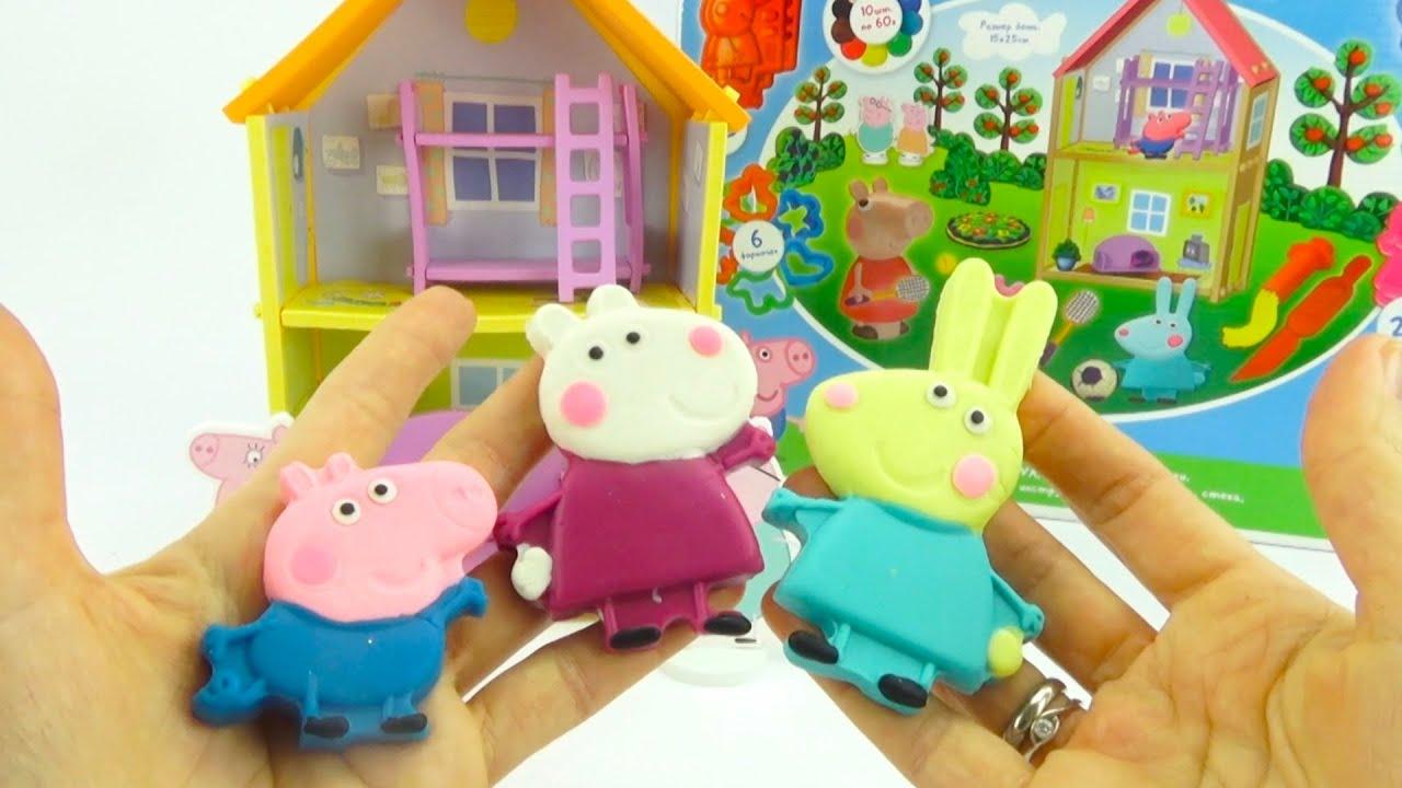 Свинка Пеппа игровой набор. Собираем дом и лепим героев мультика