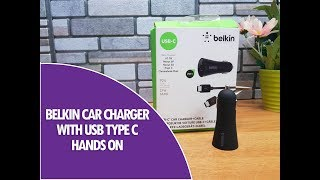 belkin Car Charger with Fast Charging and USB Type C