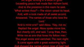 ABOU BEN ADHEM (may his tribe increase!) - Poem