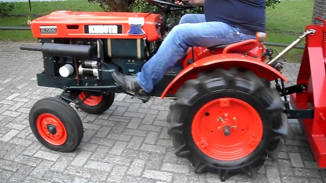 kubota b7000 mini traktor met grondbak - youtube