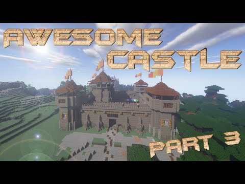 How to Build a Castle In Minecraft with Market, Stable & Farms   Big Minecraft Castle lets Build Pt3