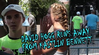 David Hogg Runs Away From Kaitlin Bennett, Kent State Gun Girl