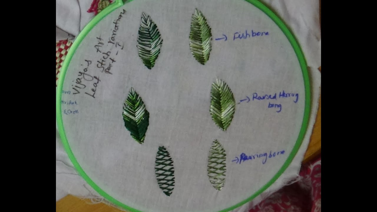 Hand Embroidery Leaf Designs - part 2 - YouTube