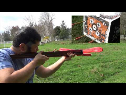 100lb Medieval Style PVC Crossbow for Under $10 Part 7 - Shooting the Finished Crossbow