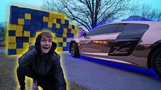AUDI R8 VS GIANT FOAM PIT WALL!! *CRASH TEST*