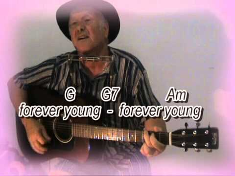 Forever Young - Bob Dylan - easy guitar lesson - on-screen chords and lyrics (guitar/mouth organ)