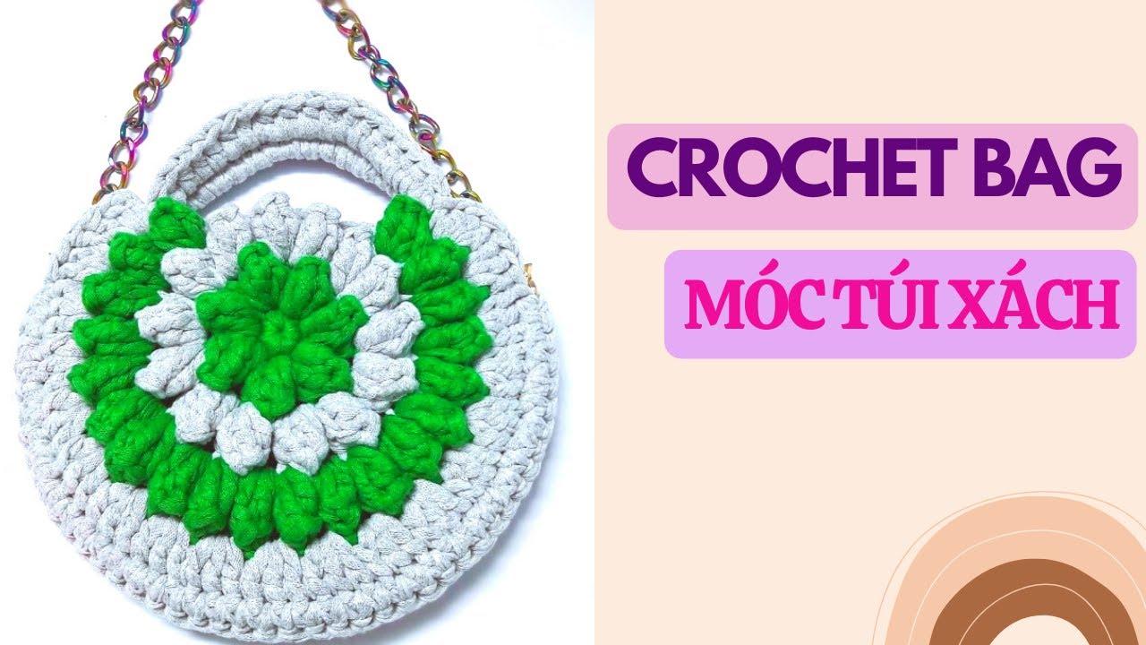 Hướng dẫn móc túi tròn sợi vải   mũi hạt bắp    Crochet a T-shirt yarn bag