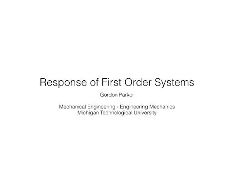 Response of First Order Systems