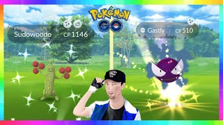 RESEARCH SHINY GASTLY CAUGHT & NEW WILD SHINY SUDOWOODO IN POKEMON GO! NEW APRIL FOOLS EVENT