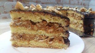 """ОБАЛДЕННЫЙ, ПРОСТОЙ В ПРИГОТОВЛЕНИИ ТОРТ """"СНИКЕРС"""". Вкусный бисквитный торт с арахисом."""