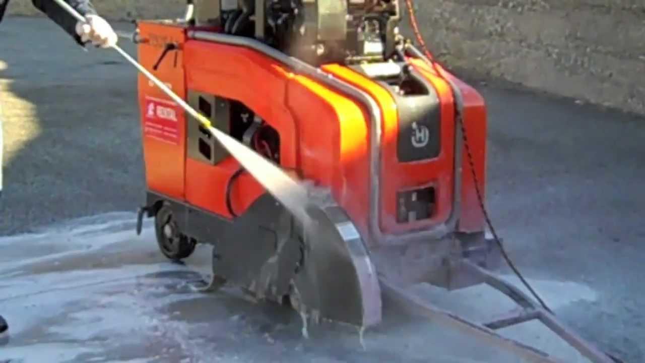 Blast Off Concrete Remover On Orange Diesel Walk Behind