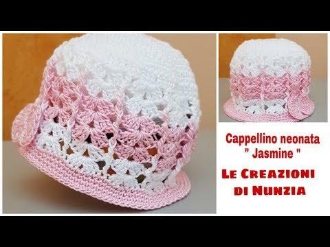 Cappellino Neonata Jasmine A Uncinetto 0 3 Mesi Youtube