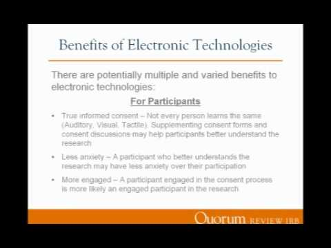 Using Electronic Consent and Technologies to Facilitate and Improve the Research Process | Webinar