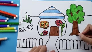 How To Draw and Coloring House for Kids. Doll's House Coloring pages for children